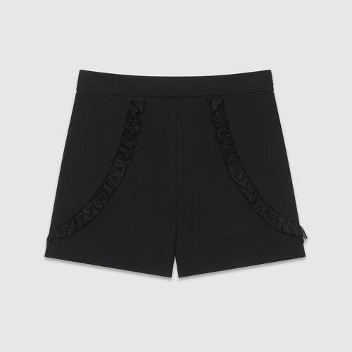 Short con detalles de encaje : Faldas y shorts color Negro