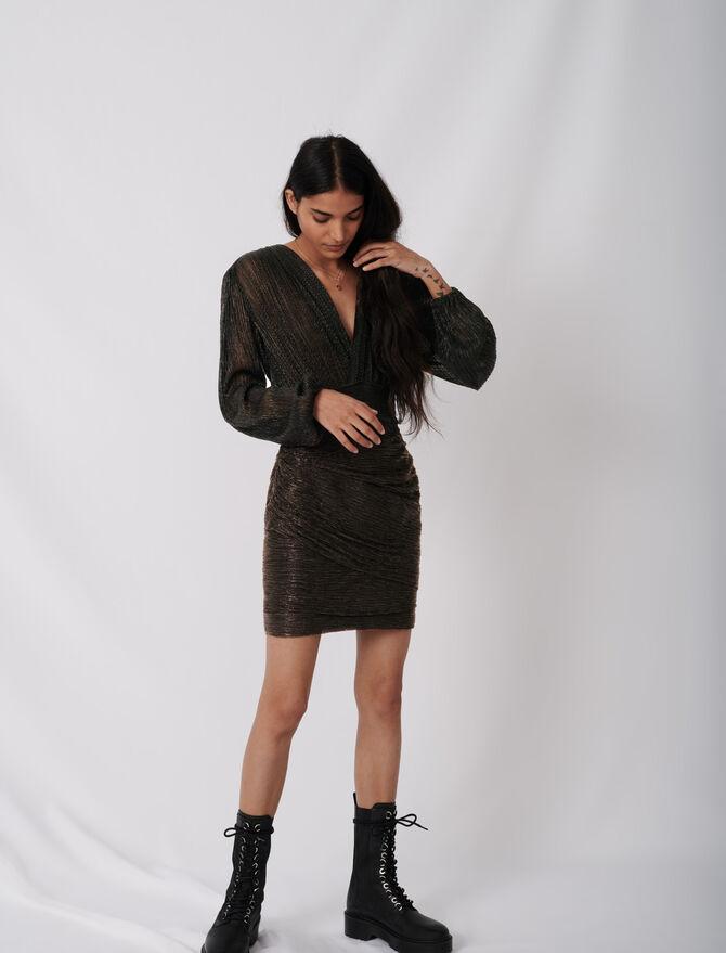 Vestido ceñido de lúrex elástico - Vestidos - MAJE
