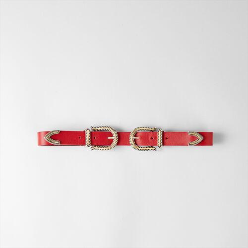 Cinturón tiro alto doble hebilla : Cinturones color Rojo