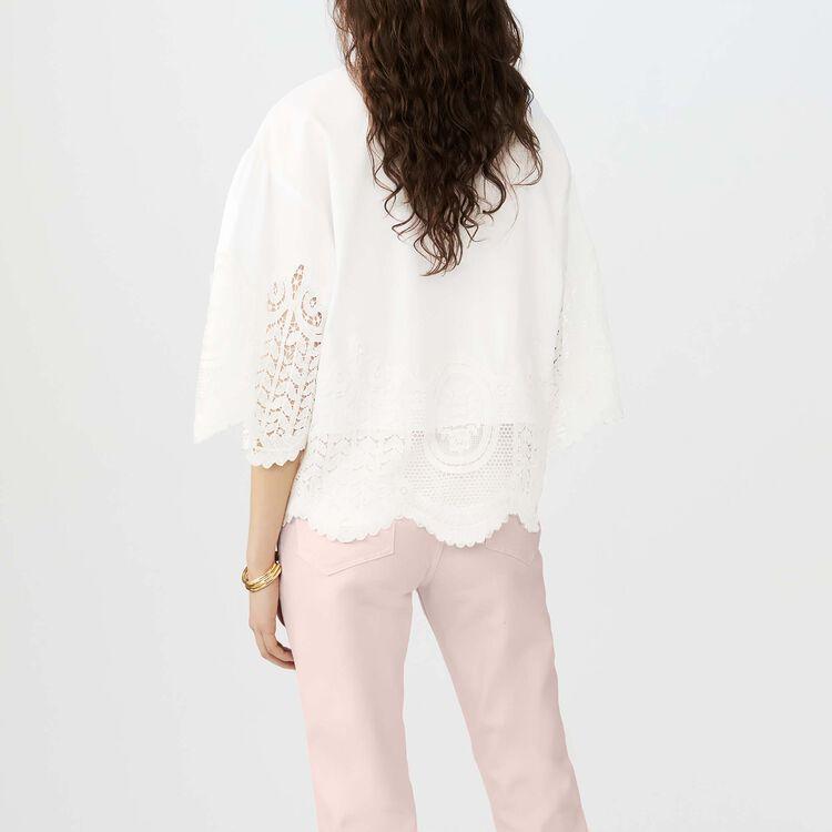 Top de algodón con detalles de encajes : Tops color ECRU