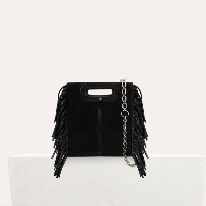 Mini bolso M de cuero con flecos : M Mini color Negro