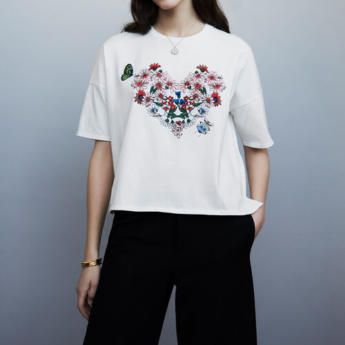 Embroidered t-shirt : T-Shirts color Blanco