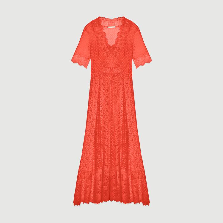 Vestido largo en plumetis y encaje : Vestidos color Coral