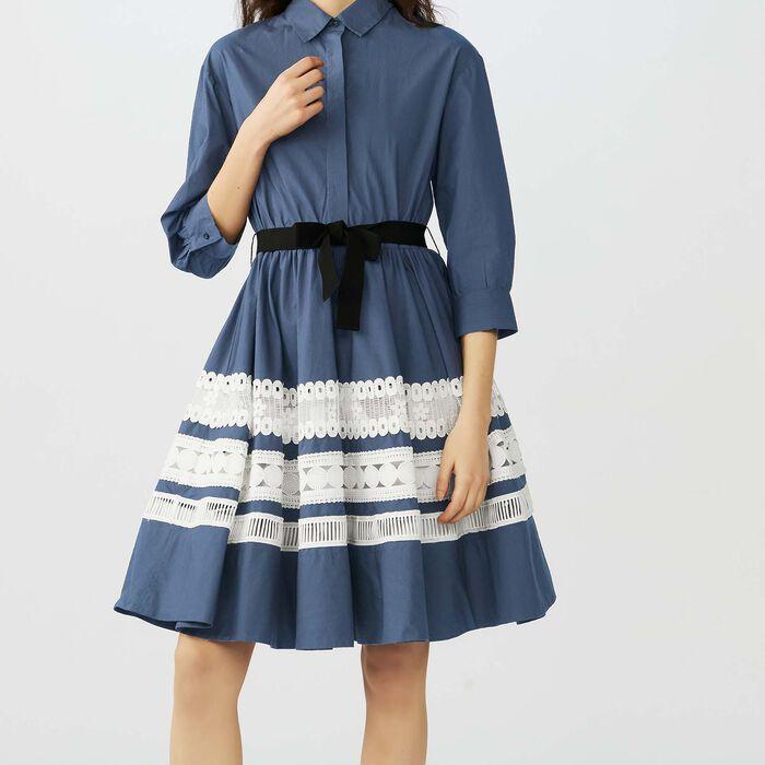 Vestido camisero bicolor con bordados : Vestidos color Azul Marino
