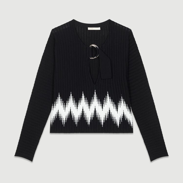 Jersey de punto fantasía : Malla color Negro