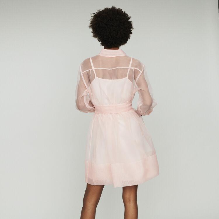 Vestido camisero de organza : Vestidos color Rosa Claro