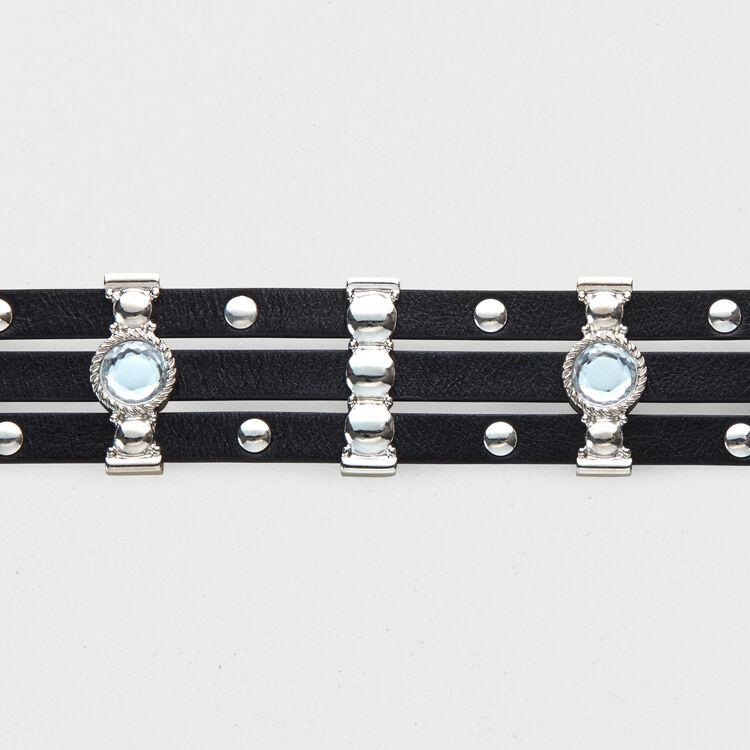 Cinturón de cuero con lentejuelas : Cinturones color Negro