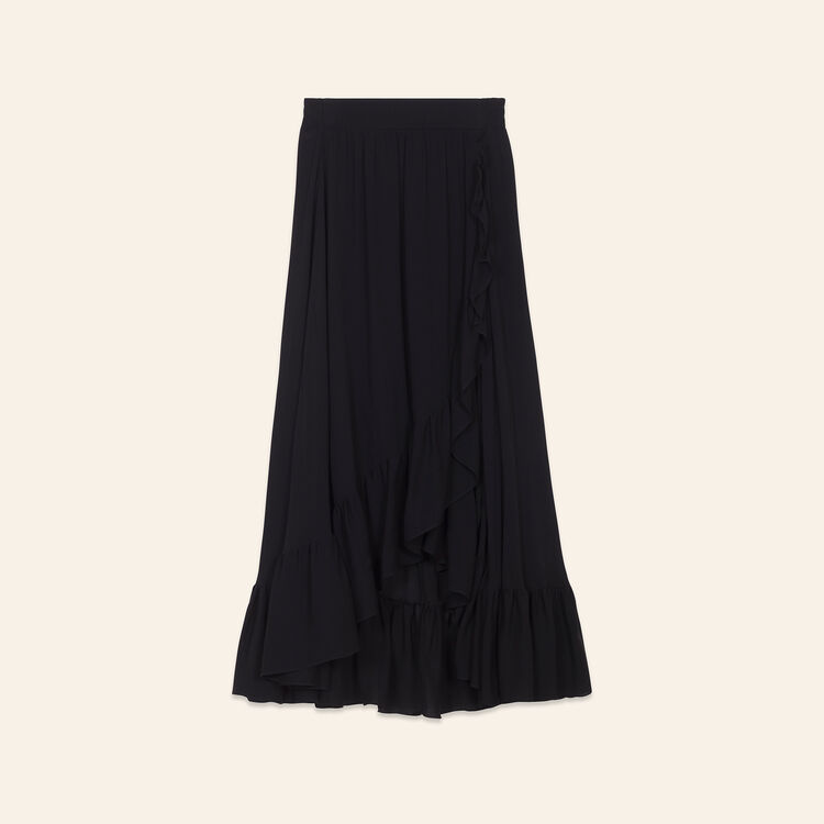 Falda asimétrica con volantes : Faldas y shorts color Negro