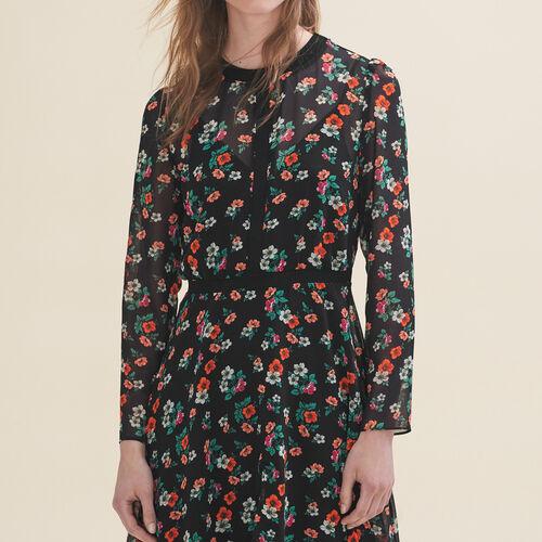 Vestido estampado con galón de punto : Vestidos color Estampado