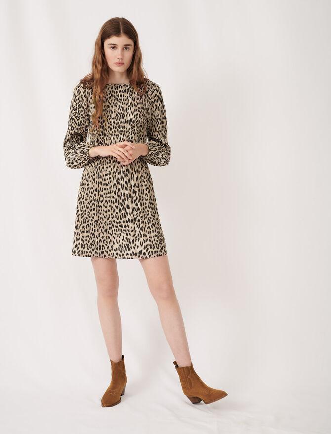Vestido plisado con print animal - Vestidos - MAJE