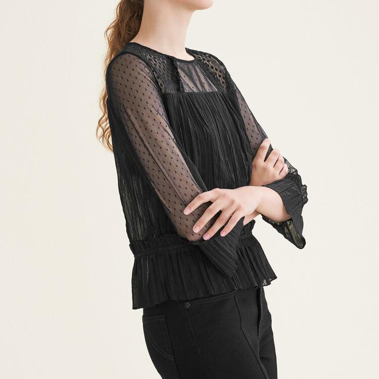 Top vaporoso y plisado con plumetis : Tops color Negro