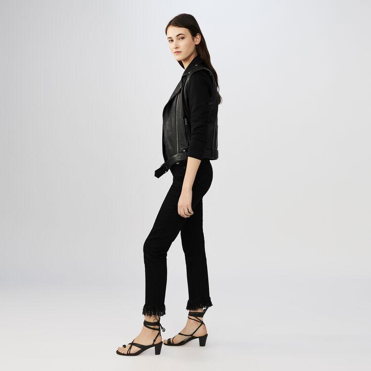 Vaquero 7/8 bajo con flecos : Jeans color Negro