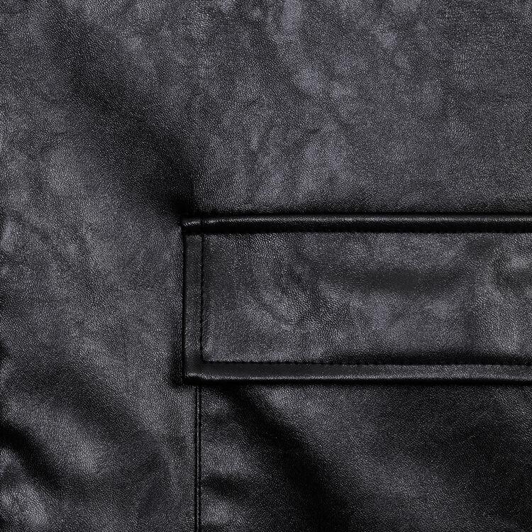 Cazadora tipo cuero con cuello forrado : Cazadoras color Negro