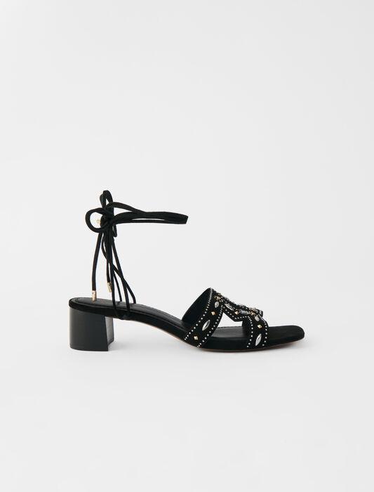 Sandalias con tacón mini y tachuelas : Zapatos de tacón color Negro