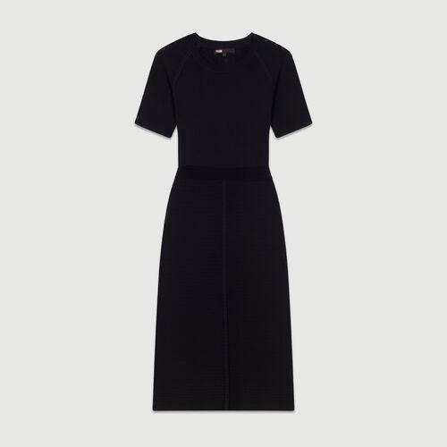 Vestido de punto stretch : Vestidos color Negro