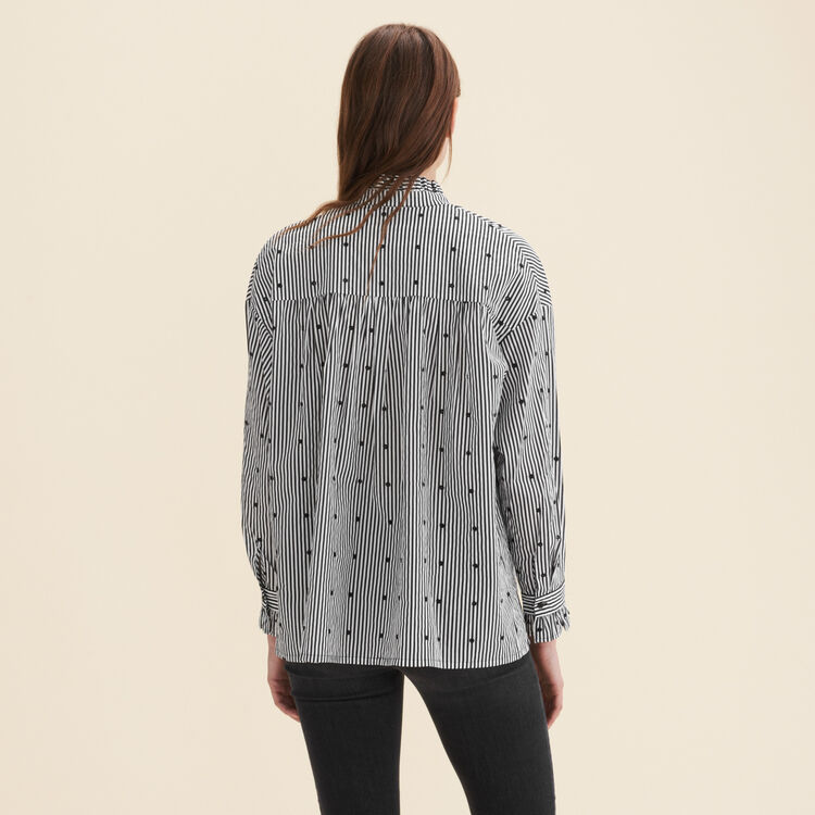 Camisa a rayas con mezcla de lunares : Tops color IMPRIME