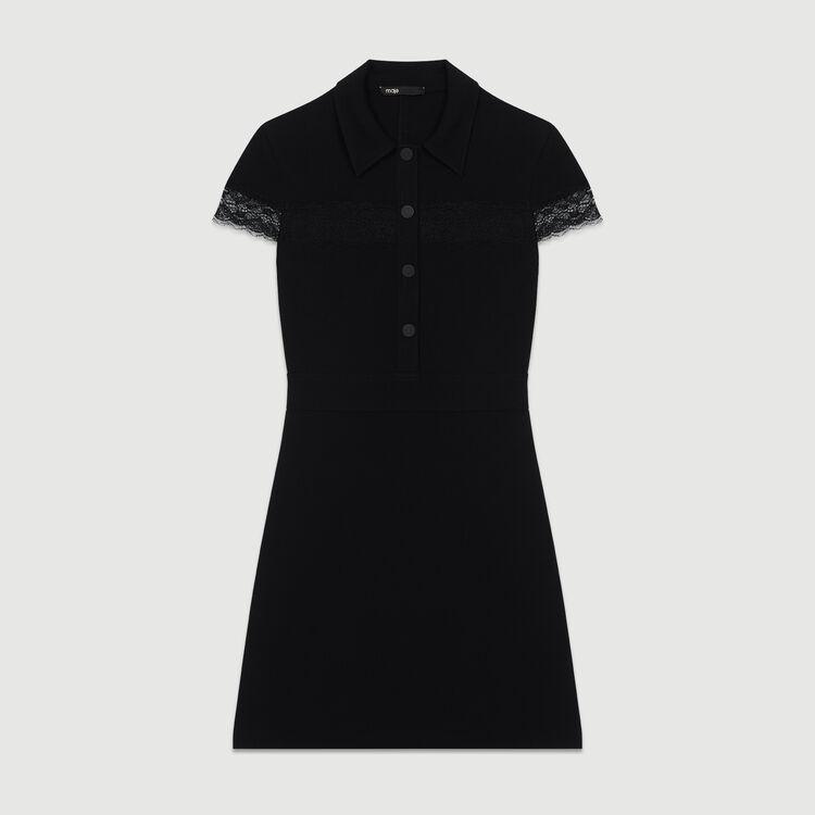 Vestido-camisero de crepé : Nueva Colección color Negro