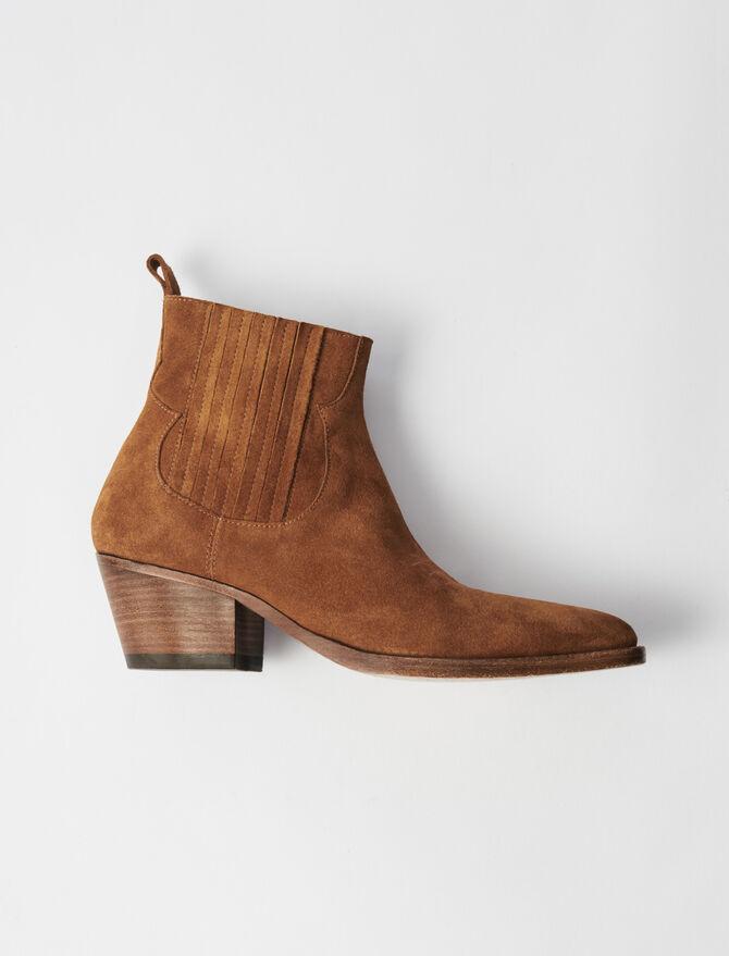 Suede Cowboy Boots -  - MAJE
