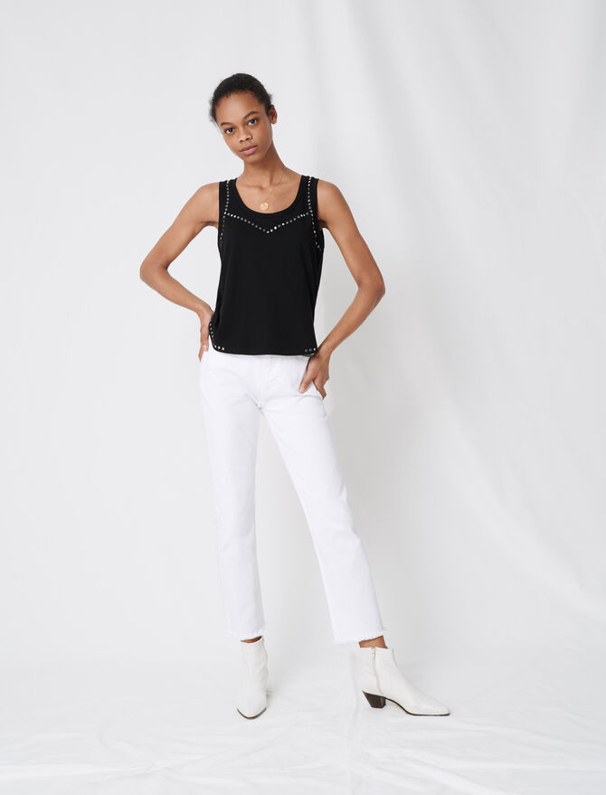 Camiseta de tirantes negra con tachuelas - T-Shirts - MAJE