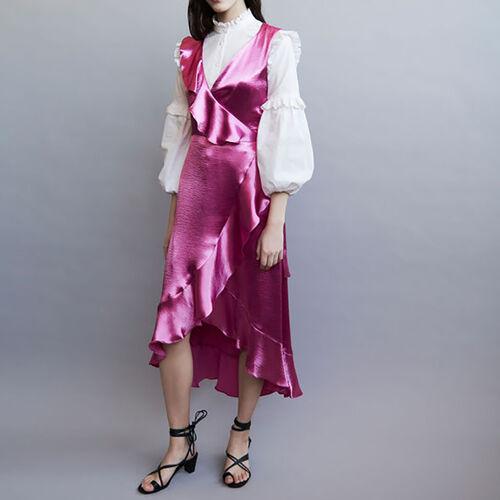 Vestido cruzado sin mangas : Vestidos color Fucsia