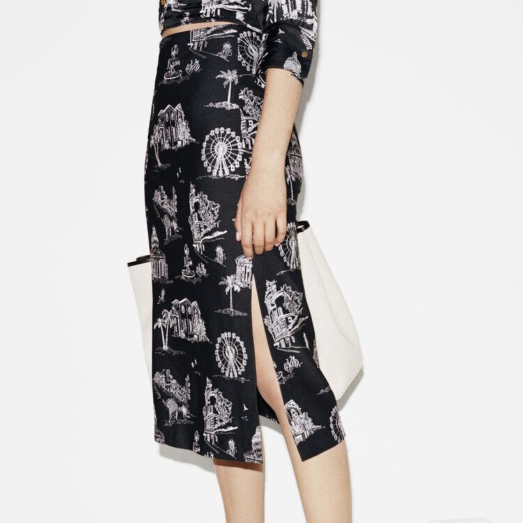 Falda midi de crepé bordada : Faldas y shorts color Negro