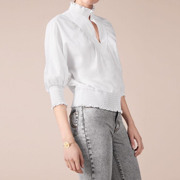 Blusa de popelina de algodón : Tops color Crudo
