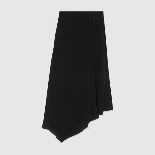 Falda larga asimétrica : Faldas y shorts color Negro
