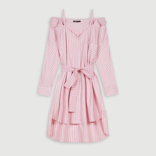 Vestido camisa oversize rayada : Vestidos color Rosa