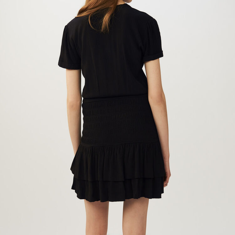 Vestido con volantes y frunces : Vestidos color Negro