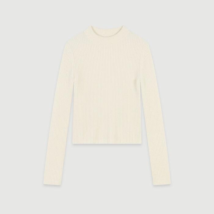 Jersey corto canalé : Jerseys y cárdigans color Crudo