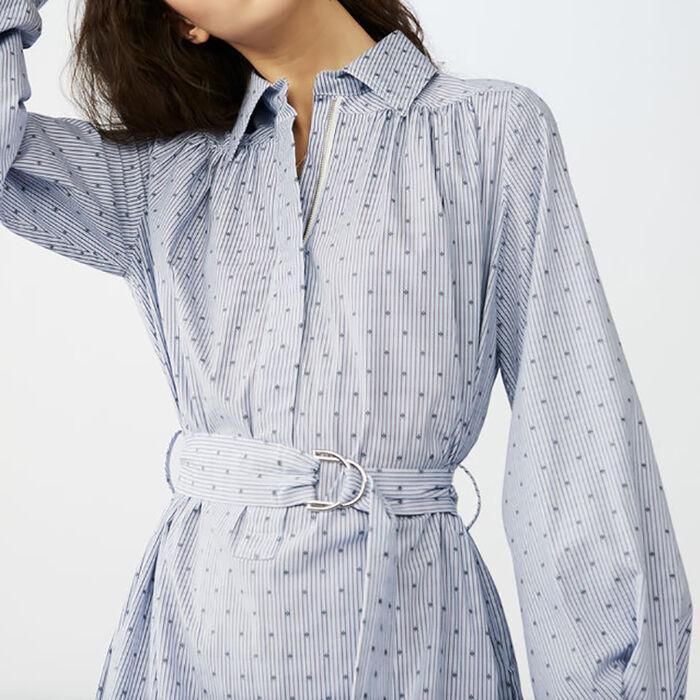Vestido camisero con cinturón hebilla : Novedades color Azul