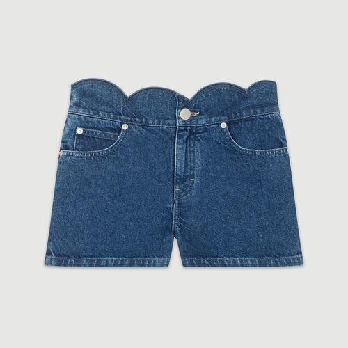 Short en denim con cortes fantasía : Faldas y shorts color Denim