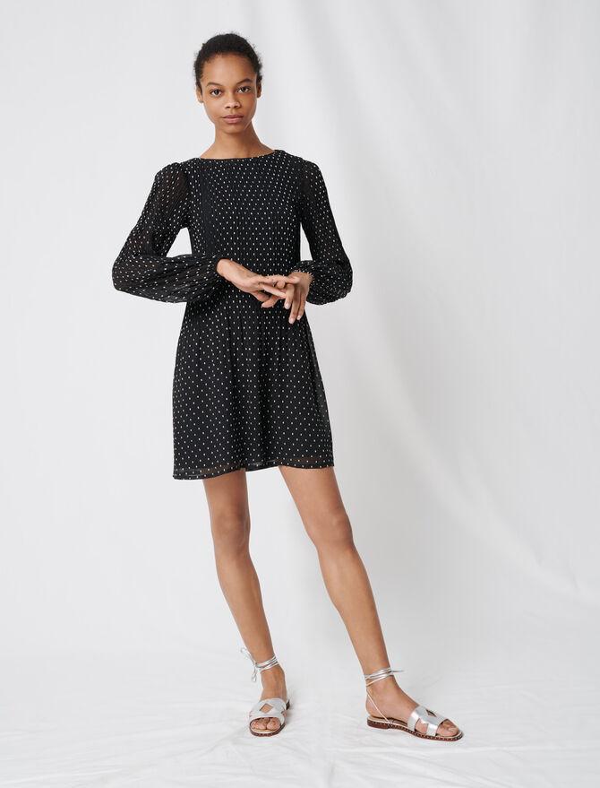 Vestido plisado bordado - Vestidos - MAJE