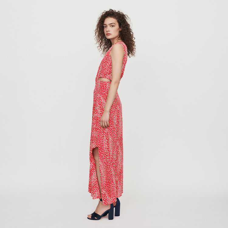 Vestido largo anudado estampado Jacquard : Vestidos color Rojo
