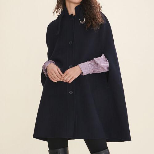 Capa larga de lana de doble cara : Abrigos color Azul Marino