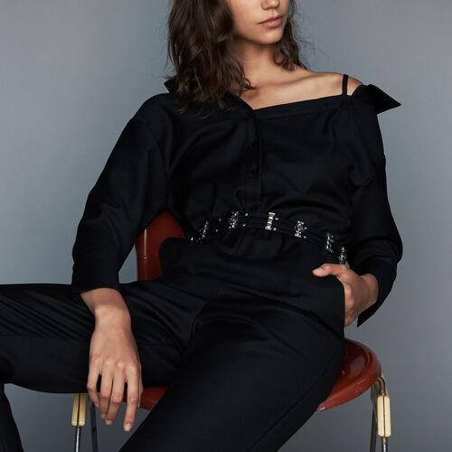 Mono-pantalón con hombros descubiertos : Pantalones color Negro