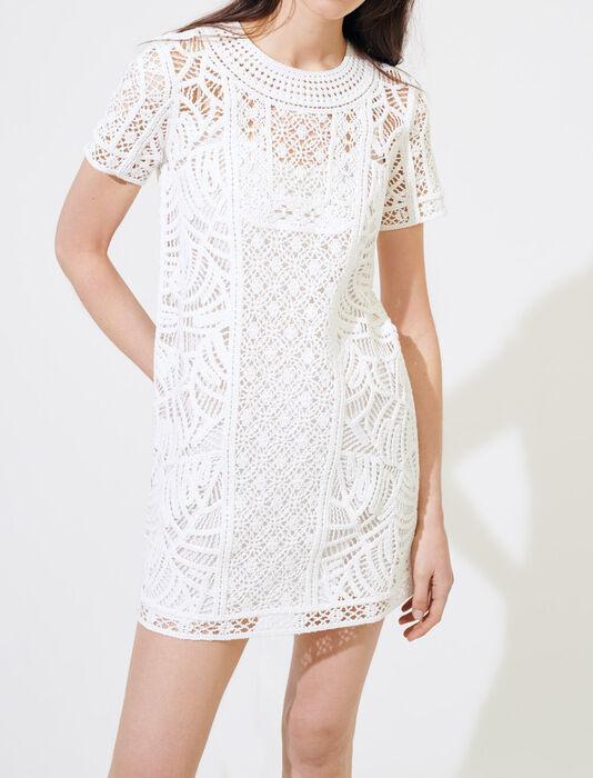 Vestido recto de macramé : Vestidos color Blanco