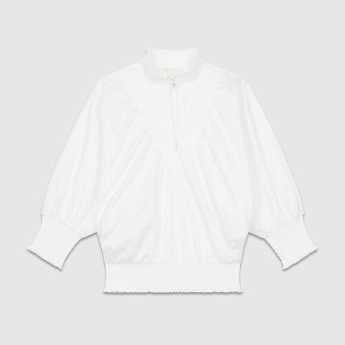 Blusa en popelina de algodon : Tops color Blanco