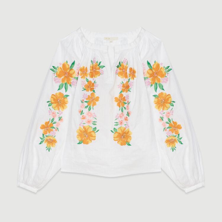 Blusa de lino con bordados : Tops y Camisas color Blanco