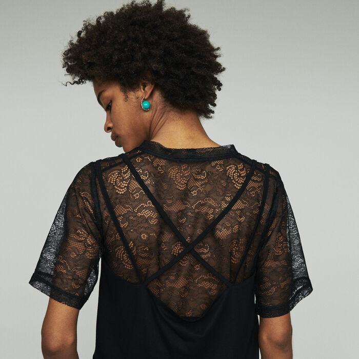 "Top ""trompe l'œil"" con encaje : SoldesUK-All color Negro"