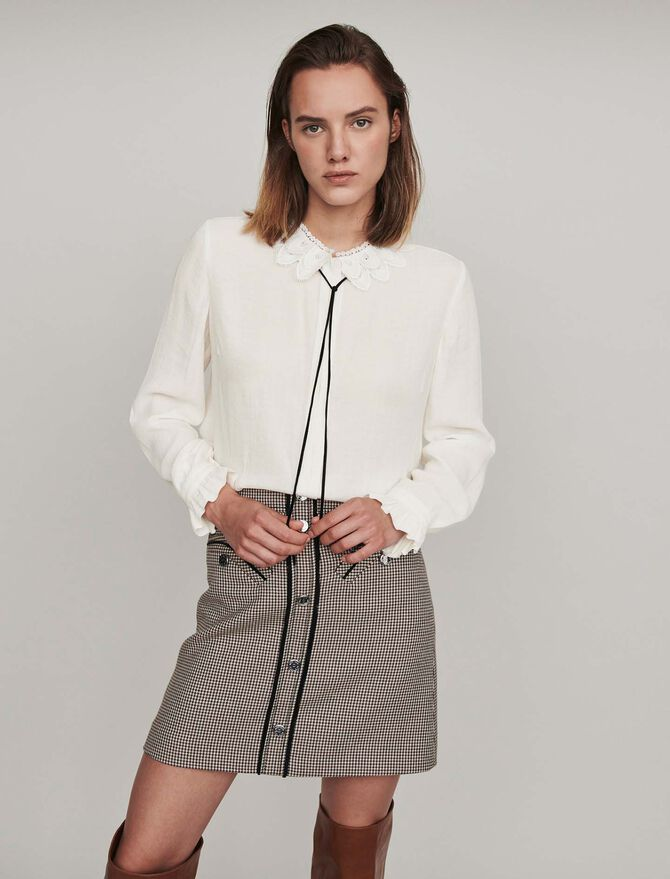 Blusa cuello guipur y lazo de terciopelo - Tops y Camisas - MAJE