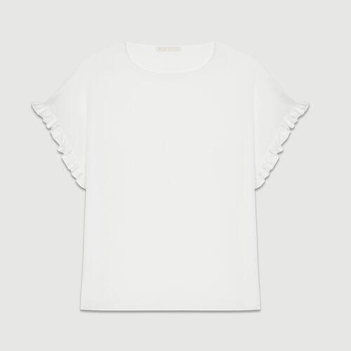 Camiseta loose con mangas de volantes : T-Shirts color Blanco