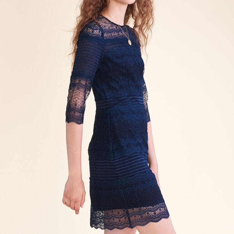 Vestido de encaje bicolor : Vestidos color Azul Marino