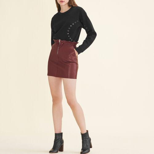 Falda de piel con cremallera : Faldas y shorts color Burdeos
