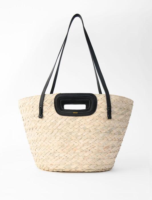 Cesta trenzada de palma y cuero : Todas las bolsas color Negro