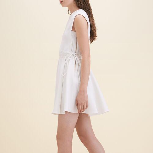 Vestido sin mangas de crepé : Vestidos color Blanco