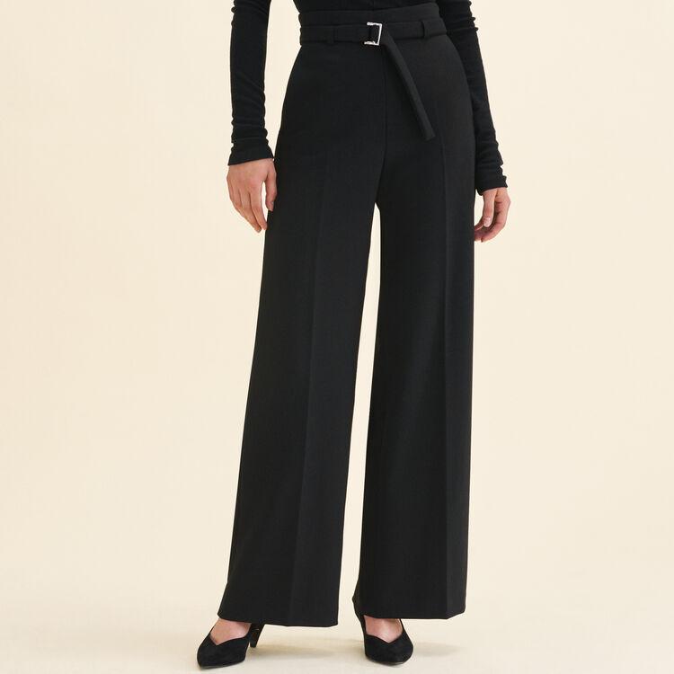 Pantalón ancho de talle alto : Pantalones y Jeans color Negro