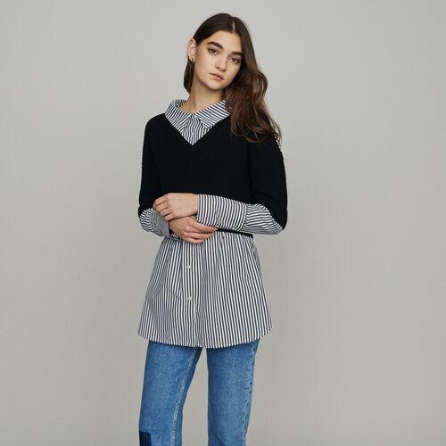 Jersey corto con blusa trompe l'œil : New in : Colección Verano color Negro