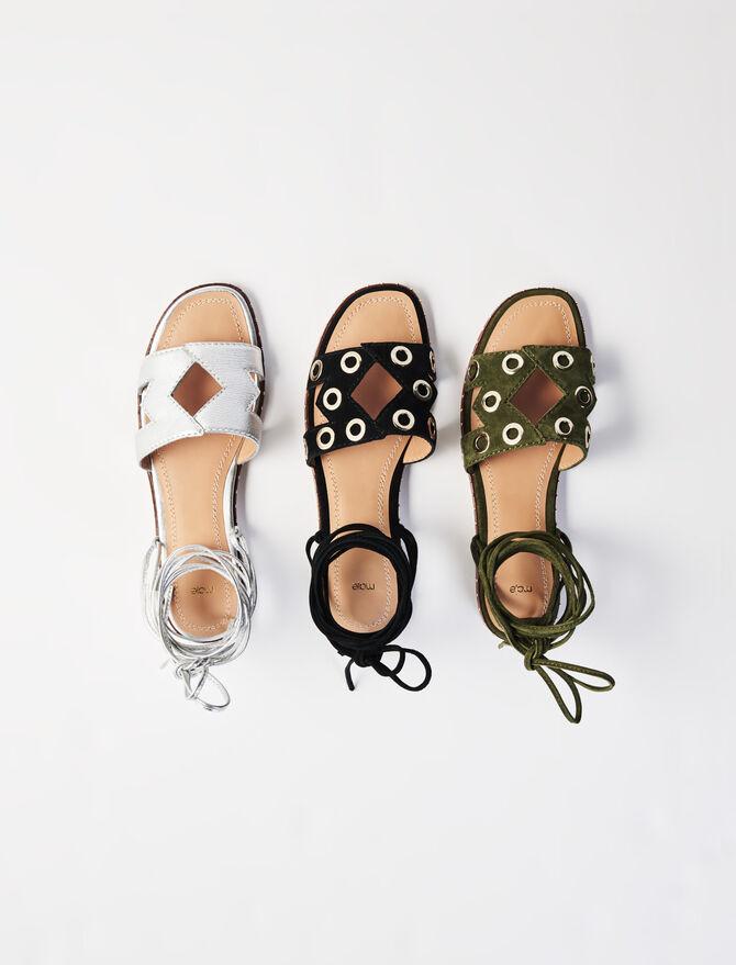 Sandalias anudadas de ante con ojales - Nueva colección - MAJE