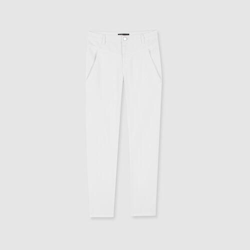 Vaquero recto con bolsillos y cortes : Pantalones y Jeans color Blanco
